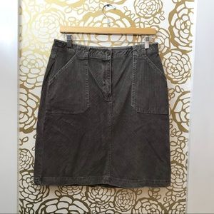 LL Bean Taupe Corduroy Straight Mini Skirt